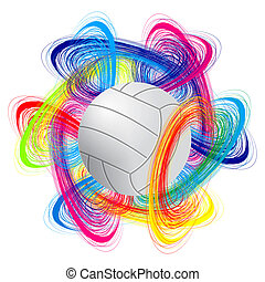 volleyball ball on color background as the concept of an...