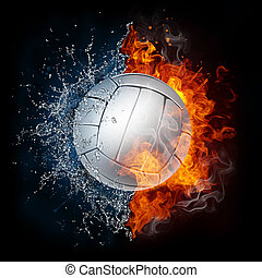 Volleyball Ball in Fire and Water Isolated on Black...