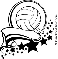 Volleyball Ball With Pennant & Star - Black and white vector...