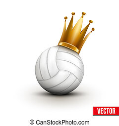 Volleyball ball with royal crown of princess