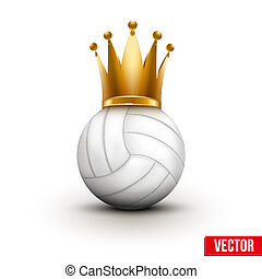 Volleyball ball with royal crown of queen