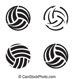 Set of black vector volleyball ball abstract icons