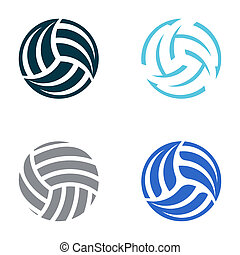 Volleyball balls - Set of four vector volleyball ball ...