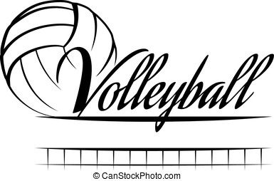 Volleyball Banner - Stylized volleyball with the word...