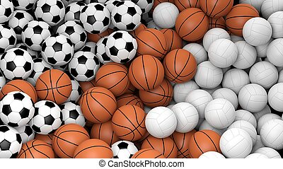 Volleyball, basketball and soccer balls piled