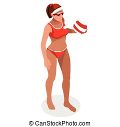 Volleyball Beach 2016 Sports 3D Isometric Vector Illustration