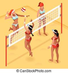 Volleyball Beach Field 2016 Summer Games 3D Vector Illustration