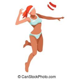 Volleyball Beach Sports 3D Vector Illustration