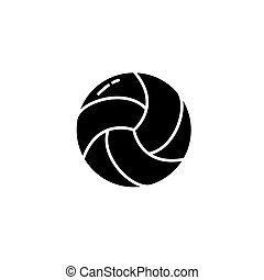 Volleyball black icon concept. Volleyball flat vector symbol, sign, illustration.