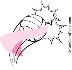 Volleyball Breast Cancer Pow - Vector illustration of a...