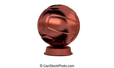 Volleyball Bronze Trophy in Infinite Rotation