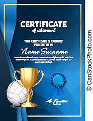 Volleyball Certificate Diploma With Golden Cup Vector. Sport Award Template. Achievement Design. Honor Background. A4 Vertical. Illustration