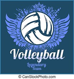 Volleyball championship logo with ball - vector illustration...