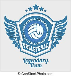 Volleyball championship logo with ball. Vector sport badge for tournament or championship.