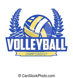 Volleyball championship logo with ball. - Volleyball...