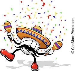A volleyball celebrating cinco de mayo by dancing with maracas a sombrero, and confetti.