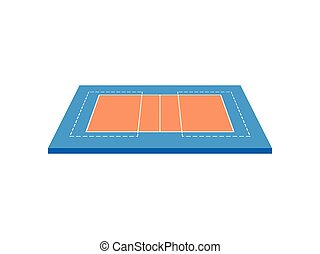 Volleyball Court. View from above. Vector illustration on white background.