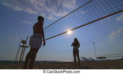 Volleyball courts on a summer sandy beach