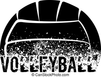 Volleyball Dark Grunge - silhouette of an a volleyball with...