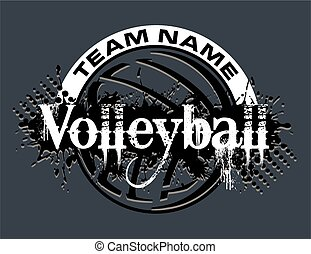 volleyball design - distressed volleyball team design with...