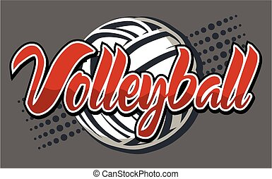 volleyball design on dark background with ball