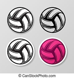 Volleyball different symbol stickers set