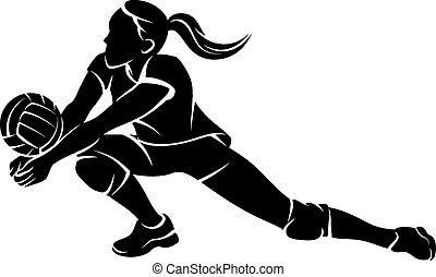 Silhoutee of a female volleyball player returning a ball with a dig.