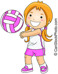 Volleyball - Girl playing Volleyball with Clipping Path