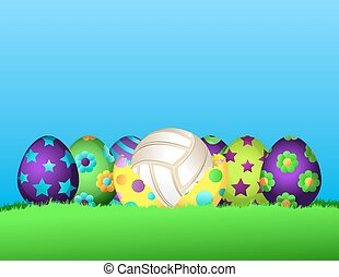 Volleyball Easter Egg Row - A row of colorful Easter Eggs...