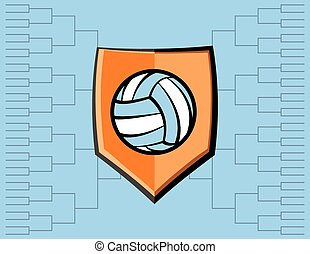 Volleyball Emblem and Tournament Background