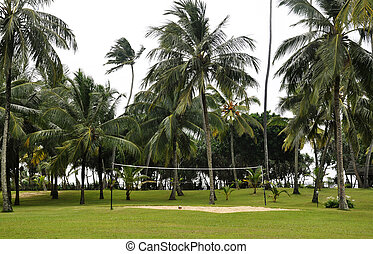 Volleyball field on the coast
