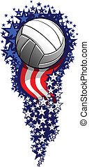Volleyball Firework with Flags and Stars