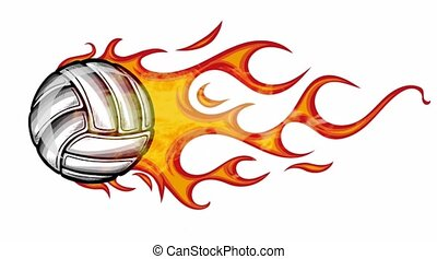 Volleyball Flaming Ball in white background