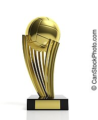 Volleyball golden trophy isolated on white