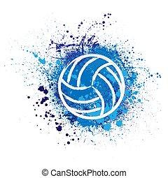 Volleyball grunge background - White grunge volleyball ball...