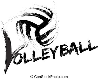 Volleyball Grunge Streaks - Basketball made with a grungy...