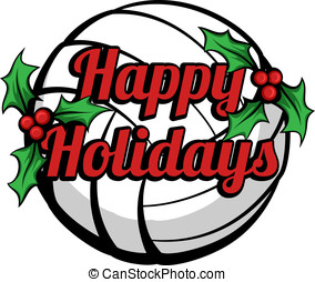 Volleyball Happy Holidays Stacked