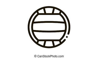 Volleyball Icon Animation. black Volleyball animated icon on white background