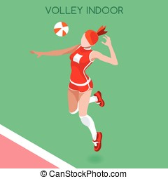 Volleyball Indoor  Summer Games 3D Isometric Vector Illustration