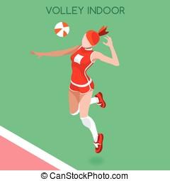Volleyball Indoor  Summer Games 3D Isometric Vector Illustration
