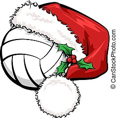 volleyball, kappe, santa