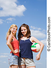 volleyball, kvindelig, spillere, hos, bold