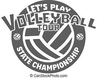 Volleyball label, badge, logo and icon. Sports insignia. Best for volley club, league competition, sport shops, sites or magazines. Use it as print on tshirt. Volleyball tour. Vector