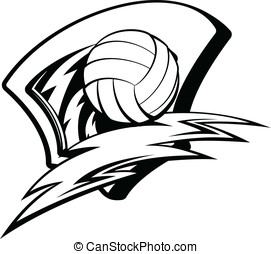 Volleyball Lightening Shield - Black and white vector...