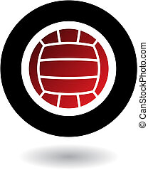 Volleyball logo - Red volleyball in black circle isolated on...