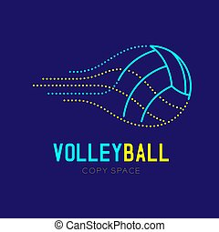 Volleyball logo icon outline stroke set dash line design illustration isolated on dark blue background with Volleyball text and copy space, vector eps 10