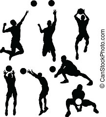 volleyball, mandlig, silhuetter, ind, athl