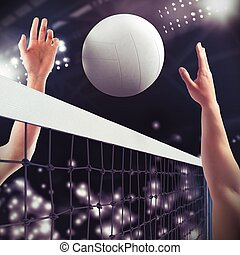 Volleyball match - Volleyball ball over the net during match