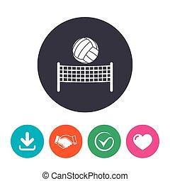 Volleyball net ball icon. Beach sport symbol