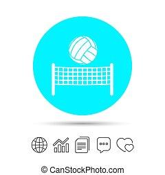 Volleyball net ball icon. Beach sport symbol.